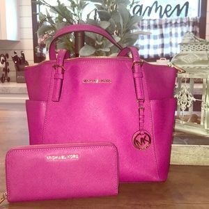 Michael Kors Tote with matching wallet.